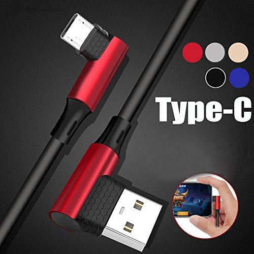 Siswong Micro USB Schnellladekabel Für Samsung S9, Typ-C Ellbogen Sync Datenkabel Netzkabel Ladegerät Kabel (Rot)