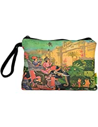 Eco Corner Big Indian Art Palace Multi-Coloured Cotton Pouch
