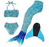 Superstar88 Mädchen Cosplay Kostüm Badebekleidung Meerjungfrau Shell Badeanzug 3pcs Bikini Sets Tolle Geschenksidee ! (150, Arctic Blue)