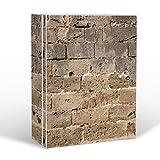 banjado Medizinschrank groß abschließbar | Arzneischrank 35x46x15cm | Medikamentenschrank aus Metall weiß mit Motiv Steinwand Antik