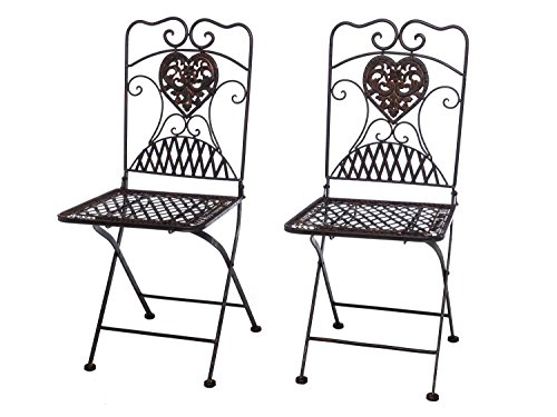 aubaho 2x Gartenstuhl Paar Stuhl Bistrostuhl Eisen Antik-Stil Gartenmöbel braun