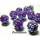 Apprêt 10 perles shambala violet 12 par 14mm