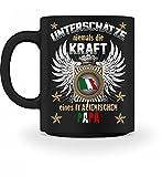 Shirtee Hochwertige Tasse - Unterschätze niemals die Kraft eines Italienischen Papas, Italiener, Italien,