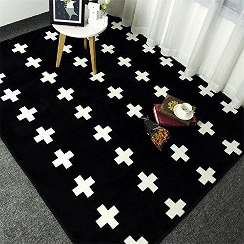 KOOCO Fashion schwarz weiße Kreuze Wohnzimmer Schlafzimmer dekorativen Teppich Teppich Boden im Badezimmer Tür Yoga Baby Kinder kriechen Play Mat Pad, Kreuze, 150 X 190 cm 59 X 75 Zoll