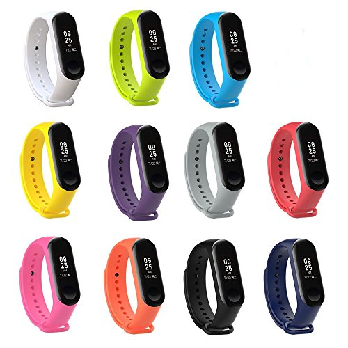 XIHAMA orologio da polso per Xiaomi Mi Band 3, morbido silicone elastico di ricambio fitness sport attività Wristband con fascia di chiusura per Xiaomi Mi 3