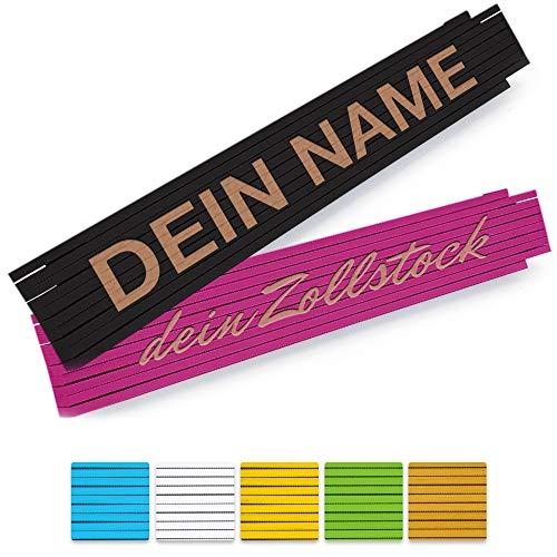 Zollstock mit Namen Gravur - personalisierter 2 Meter Holz-Gliedermaßstab in verschiedenen Farben - (einseitig oder zweiseitig Beschriftet)