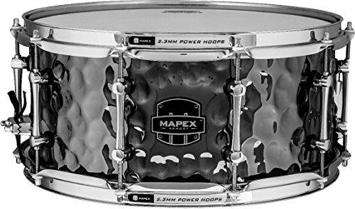 MAPEX arst465hceb Arsenal 35,6x 16,5cm die Daisy Cutter Snare Drum mit Chrom Hardware, gehämmert Schwarz Chrom Finish Daisy Cutter