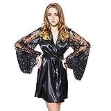 TEBAISE Damen Satin Kimono Morgenmantel Lang Bademantel Frauen Schlafanzug Negligee Nachthemd Nachtwäsche Unterwäsche V Ausschnitt mit Gürte