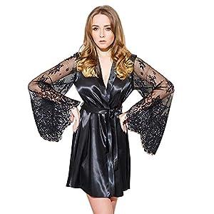 Innerternet Damen Morgenmantel Kimono Satin Kurz Robe Bademantel Nachtwäsche Sleepwear V Ausschnitt mit Gürtel