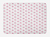 Baby Bath Mat, Abstract Cartoon Valentine's Hearts and Whales Love Nature Themed Ocean Inhabitants,...