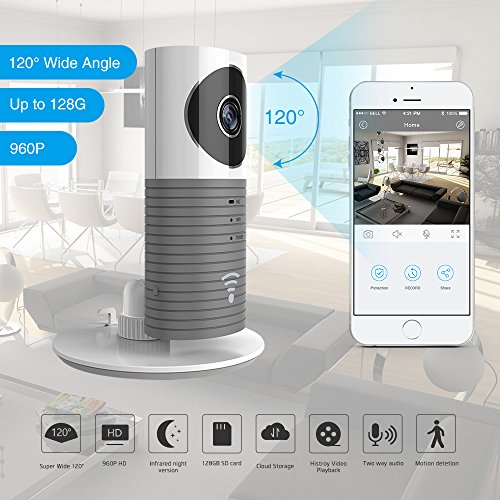 Clever Dog 2. Generation 960P 120 ° Weitwinkelobjektiv Wireless Sicherheit Wifi-Kamera Unterstützung Max 128 GB SD-Karte (Grey)