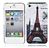 Cadorabo – TPU Hard Cover per  Apple iPhone 4 / iPhone 4S  - Case Cover Involucro Bumper Accessorio in Design: PARIS - TORRE-EIFFEL