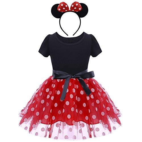 IBTOM CASTLE Kostüm Prinzessin Mädchen Baby Kind Gepunktet Tüll Kleider Festlich Polka Dots Tutu mit Stirnband Schleife Verkleiden für Karneval Mardi Gras Rot 3-4 Jahre