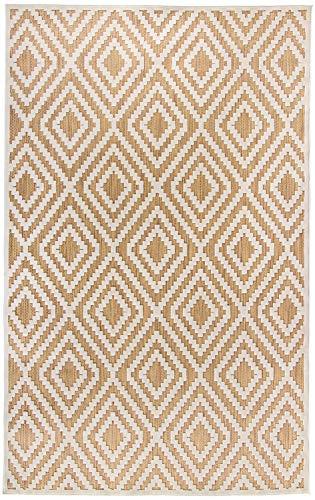 Carpetforyou Schöner moderner flachgewebter In- & Outdoor Teppich Diamond Sahara geometrisch beige braun Creme in 4 Größen perfekt für Wohnzimmer Schlafzimmer und Balkon (76 x 120 cm) (Braun Outdoor-teppich)