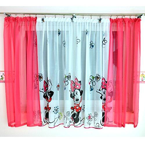 GFM-1 DISNEY Kindergardine für Mädchen / Kinder mit Motiv MINNIE MOUSE für Kinderzimmer / Mädchenzimmer / Vorhänge pink Rosa Geraffte Vorhänge