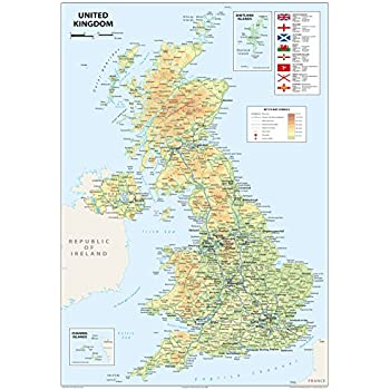 Map Of England Motorways.United Kingdom Uk Road Wall Map Clearly Shows Motorways Major