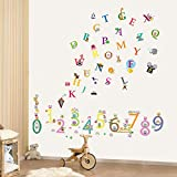 COM-Alphabet+Numbers Kids Boys Girls Babies Combo123 Plus ABC Nursery Room Children Wall Stickers Paper, Mixed Colour