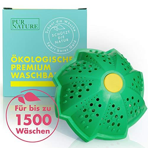 PUR NATURE Öko Waschball für bis zu 1500 Wäschen Ohne Mikroplastik - BPA-Frei - Perfekt für Allergiker und dein Baby - Ohne Duftstoffe - Waschball für Waschmaschine - Waschen ohne Waschmittel