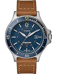 bb33706509dc Timex Reloj Analógico para Hombre de Energía Solar con Correa en Cuero  TW4B15000