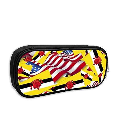 Brunei Flag with America Flag Portable Cosmetic Bag Make Up Organizer Train Pouch for Women