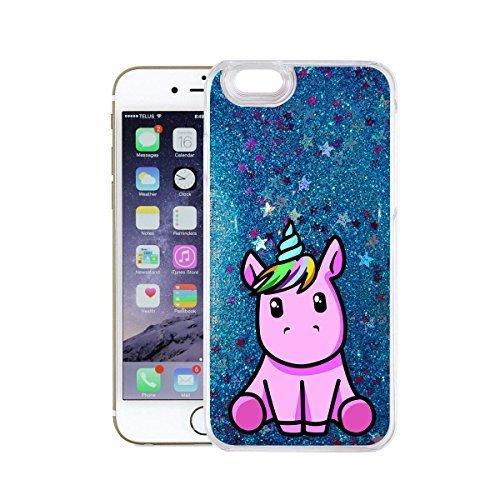 finoo | iPhone 7 Plus Flüssige Liquid Blaue Glitzer Bling Bling Handy-Hülle | Rundum Silikon Schutz-hülle + Muster | Weicher TPU Bumper Case Cover | Einhorn Einhorn pink