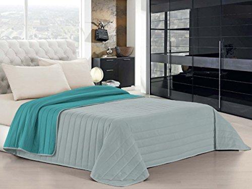 Italian bed linen elegant trapuntino 2 posti, acqua/grigio chiaro, 260 x 270 cm