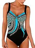 FIYOTE Damen Sportlich Tankini Top Bandeau Bikini Sets Zwei Stück Beachwear Gepolstert Badeanzug Blau XXL