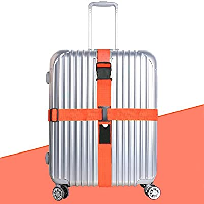 Luggage Straps, JTDEAL Heavy Duty Adjustable Cross Design Suitcase Straps Luggage Belt 2M/6.5FT Long Travel Belts Plus Luggage Tags Slot, Security Non-Slip (Orange)