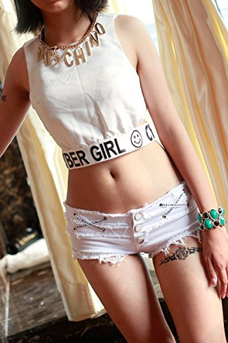 Bikini Und Low Rise Jeans (Junjiagao Sexy Denim Booty Shorts Cute Bikini Sexy Jeans Shorts Low Rise Quaste Micro Mini Kurze Erotische Culb Wear (Color : White, Size : L))