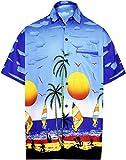 LA LEELA Shirt Camicia Hawaiana Uomo XS - 5XL Manica Corta Hawaii Tasca-Frontale Stampa Hawaiano Casuale Regular Fit Nero XS