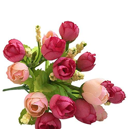 Andouy 15 teste insolito artificiale di seta rosa fiore falso foglia decorazioni per la casa bouquet da sposa
