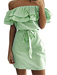 981081258b48 Weant Abiti Corti Donna Abito Vestito Donna Gonna Corta Elegante Abito  Spalla Nuda Balze Vita Dress Donna Estate Veste Cocktail Vestito Senza…