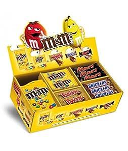 Boîte assortiment de 60 produits composés comme suit : M&M 200 g, M&M 45 g, Mars, Twix, Snicker