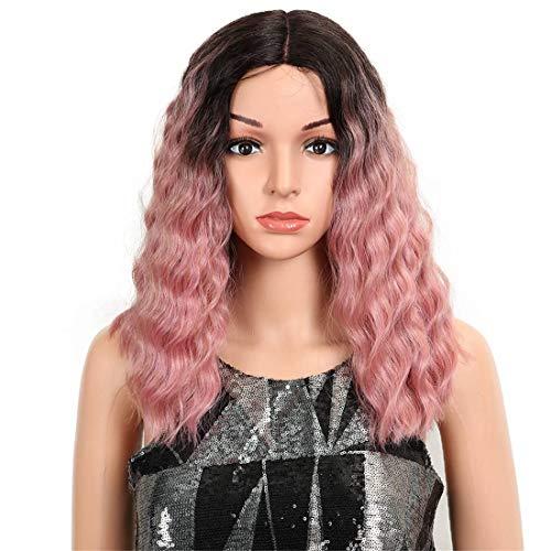 """ERFAC Perücke Haar 14 """"Zoll Lace Front Perücke für schwarze synthetische Perücken tiefe wellenförmige hitzebeständige Haar gewellte Perücke Rose Red Synthetic Hair Perücken -"""