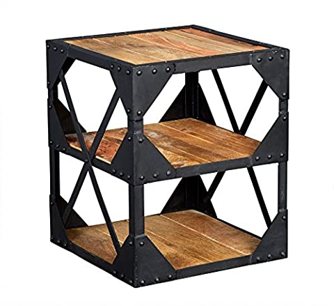 Indian Hub Ascot Industrial Side Table Multi Media Cabinet, Wood, Natural Wood/Dark Metal