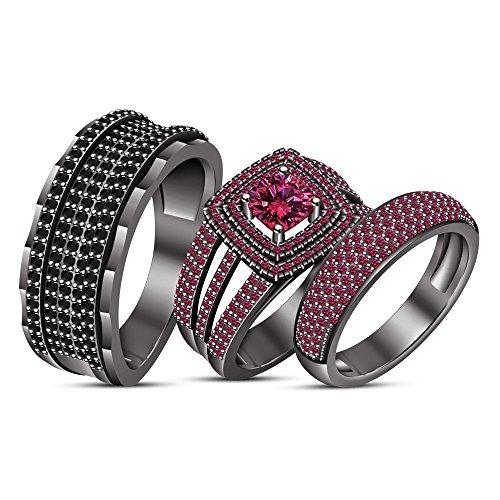 Lilu Jewels Massiv rhodiniert Schwarz mit Edelsteine Verlobungsring Hochzeit HIS & HER Trio Ring-Set (Ihre Trio Seine Hochzeits-set Und)