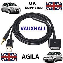 Opel AGILA Compatible iPhone/iPad/iTouch 3,5 mm de Audio y Cable USB de carga/Cable AUX ---Apple conector Dock a 3,5 mm de Audio con clavija de y USB de carga/Compatible con todos los modelos de iPod, iPhone y iPad.