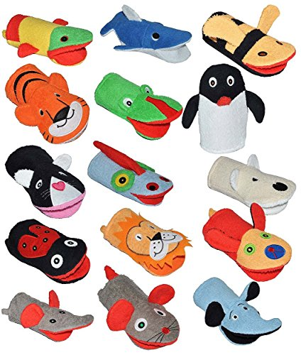 5 tlg. Set _ 2 in 1: Waschhandschuh + Handpuppe - verschiedene Tiere für Kinder - Handspielpuppe Handpuppen Tier Baby Waschlappen zum Spielen und Waschen