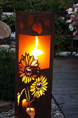 *Feuersäule Sonnenblume Edelrost Rost Metall Gartendeko Garten Stele Fackel Feuer Säule*