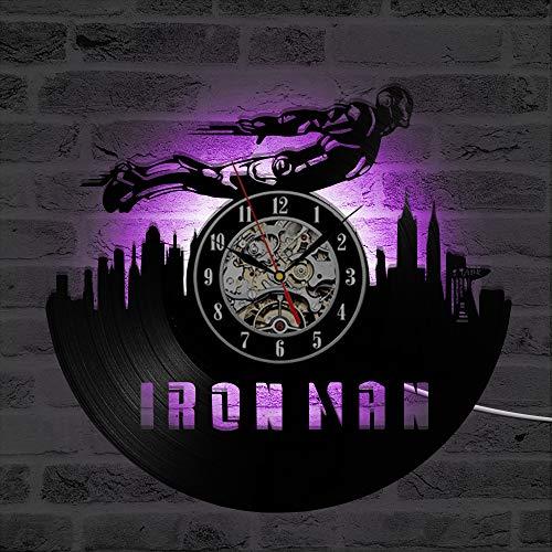(LRRD 3D Silent Quarz Wanduhr LED Beleuchtung Rekorduhr Vinyl Schwarz Hohle Iron ManDekoration Antiken Stil Hängen Uhren)