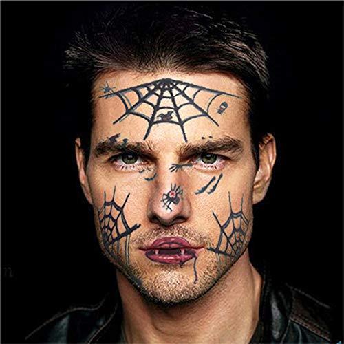 Amphia Halloween temporäre Face Art Wasserdichte Maske Zucker Schädel Tattoo Beauty Sticker (Zucker Schädel Maske Kostüm)