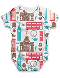 TWISTED ENVY Multicolour Pugs Baby Unisex Funny All-Over Print Bodysuit Baby Grow Baby Romper
