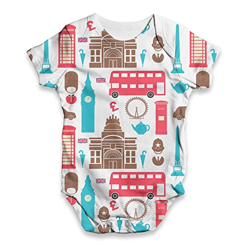 TWISTED ENVY London Pattern Baby Unisex Funny All-Over Print Bodysuit Baby Grow Baby Romper
