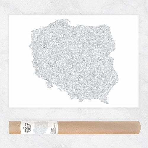 Mandala Muster Politische Karte von Polen zum Ausmalen für Erwachsene, Polska, Polnische Karte