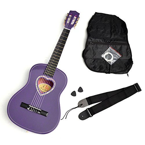 ts-ideen - Guitarra acústica infantil (1/2, pastilla de corazón, incluye accesorios: funda, púas, cuerdas y correa)