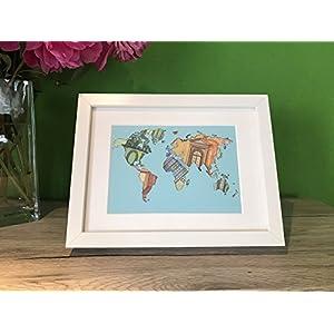 Geldgeschenk Weltkarte im Bilderrahmen, Hochzeitsgeschenk, Geburtstagsgeschenk