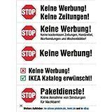 4er Pack Keine Werbung! - transparente Aufkleber in 5 verschiedenen Motiven, Briefkastenaufkleber