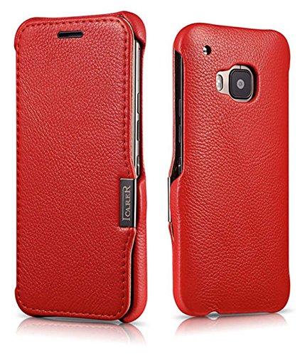 Luxus Tasche für HTC one M9 / Case Außenseite aus Echt-Leder / Innenseite aus Kunstleder / Modell: Business / Schutz-Hülle seitlich aufklappbar / ultra-slim Cover / Farbe: Rot