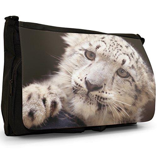 Niedliches Baby Schneeleopard Junges Große Messenger- / Laptop- / Schultasche Schultertasche aus schwarzem Canvas