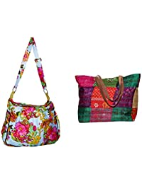 Indiweaves Combo Pack Of 1 Silk Kantha Beach Bags Bag And 1 Cotton Shopper Bag (Pack Of 2) 82100-129289-IW-P2